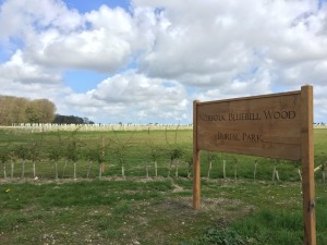The entrance to the beautiful Bluebell Wood natural burial park in Norfolk, the perfect setting for a woodland burial for loved ones to be laid to rest